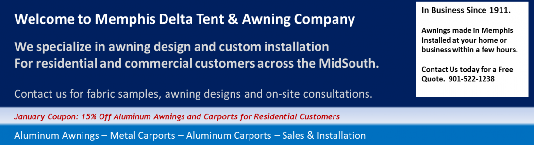 sale on carports and aluminum awnings - 15% discount in January - Delta Tent & Awning