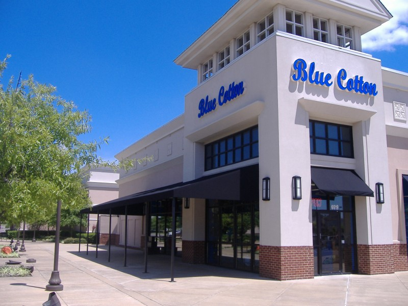 awning for blue cotton clothing store