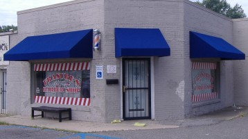 blue standard box awning
